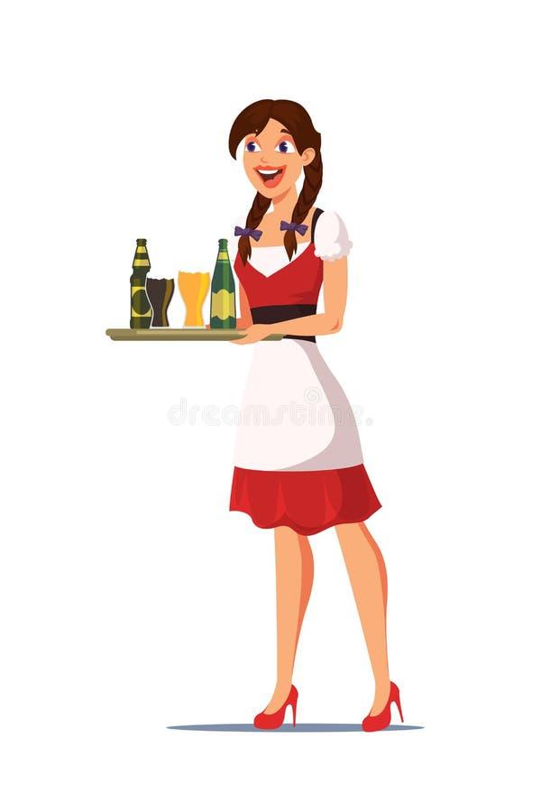 Bandeja levando da empregada de mesa na ilustração do bar ilustração royalty free