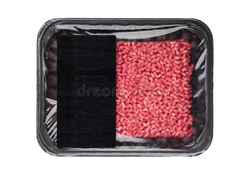 A bandeja plástica com o cordeiro cru da carne de porco da carne do frew tritura foto de stock
