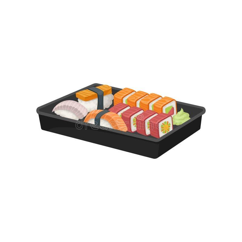 Bandeja plástica negra con el sistema de rollos de sushi Comida japonesa apetitosa Cocina asiática Vector plano para el cartel de stock de ilustración