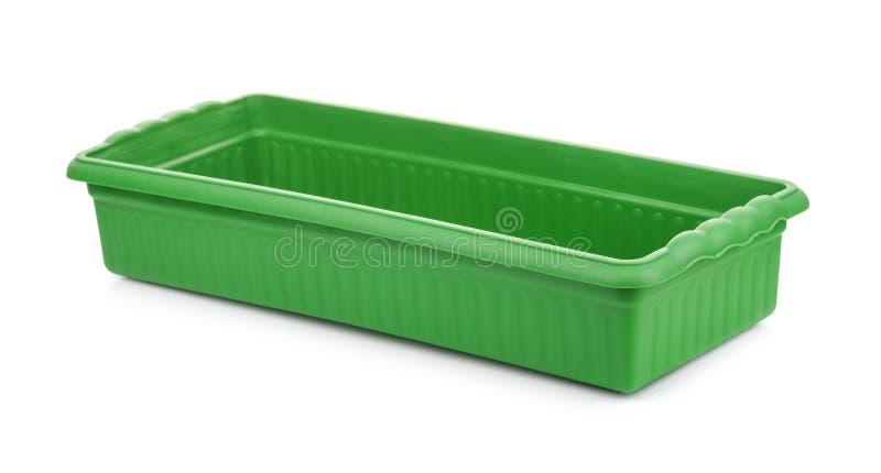 Bandeja plástica verde vacía del almácigo imagen de archivo