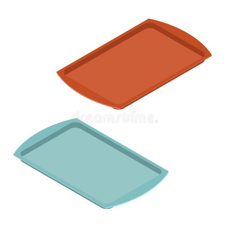 Bandeja vazia para o alimento Salva plástica para a refeição kitchenware bandeja ilustração royalty free