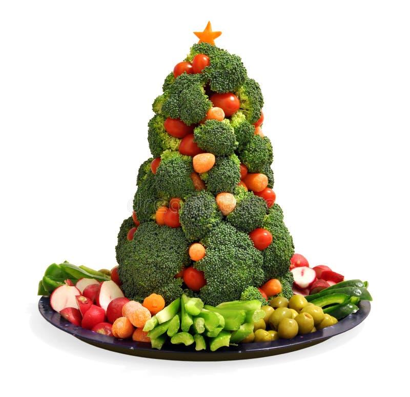 Bandeja vegetal do feriado caseiro do vegetariano com a árvore de Natal dos brócolis fotos de stock royalty free