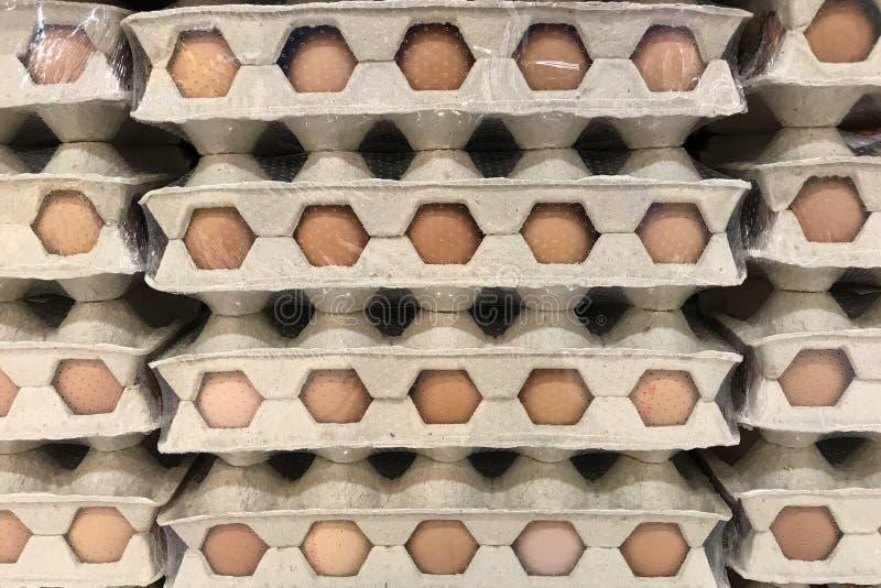 Bandejas com ovos Textura, fundo fotografia de stock royalty free