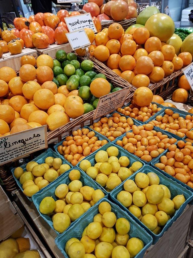 Bandejas de citrinos, de laranjas, de limões, de linhas kumquats & de limequa foto de stock royalty free