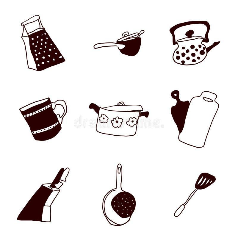 Bandejas do estoque da cozinha e garatujas não únicas ilustração do vetor