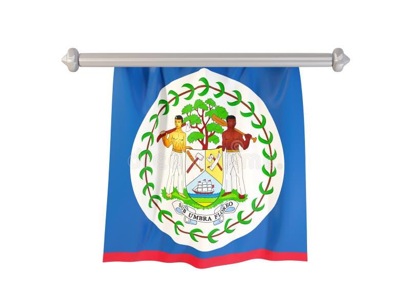 Banderín con la bandera de Belice ilustración del vector