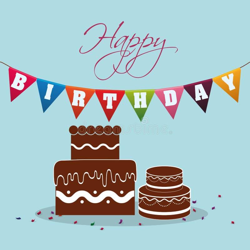 banderín de la torta de chocolate del feliz cumpleaños festivo stock de ilustración
