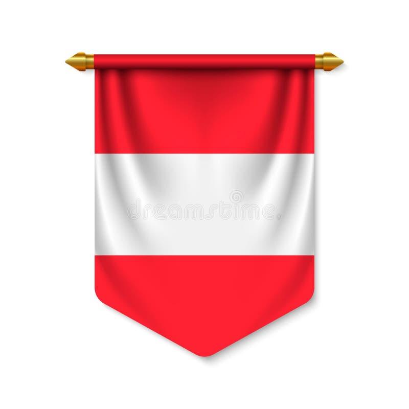 bander?n realista 3d con la bandera libre illustration