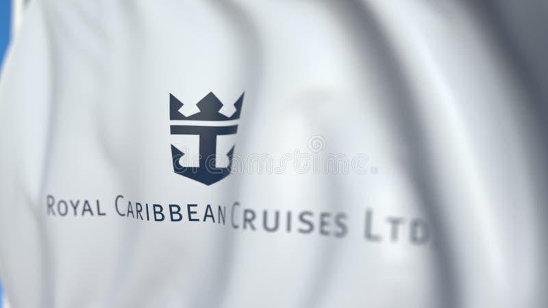 Bandera aérea con el logo de Royal Caribbean Cruises Ltd, cierre. Representación 3D editorial ilustración del vector