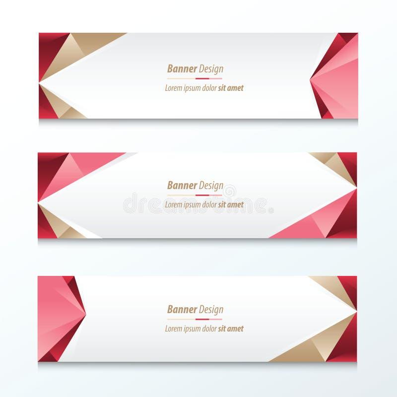 Bandera abstracta Brown, rosa del triángulo, rojo stock de ilustración