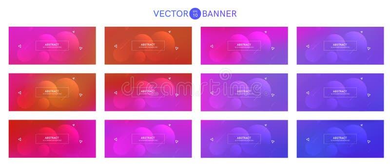 Bandera abstracta con las formas de la pendiente fijadas libre illustration