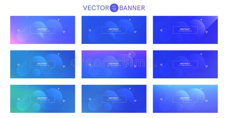 Bandera abstracta con las formas de la pendiente fijadas ilustración del vector