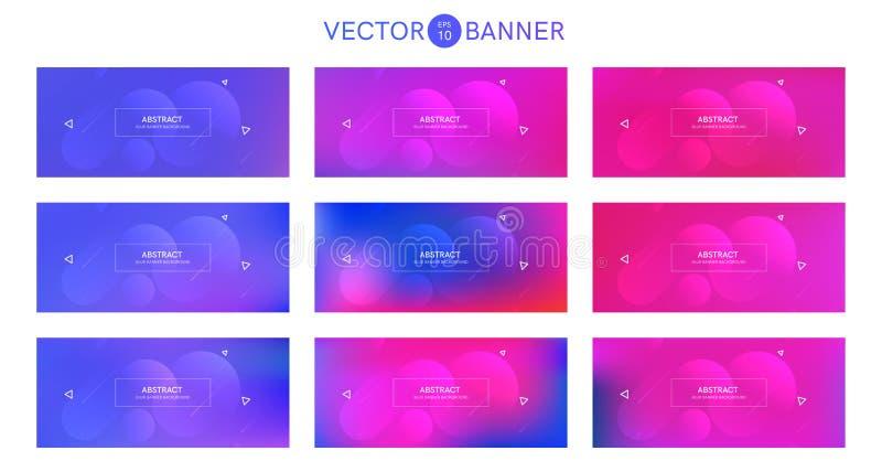 Bandera abstracta con las formas de la pendiente fijadas stock de ilustración