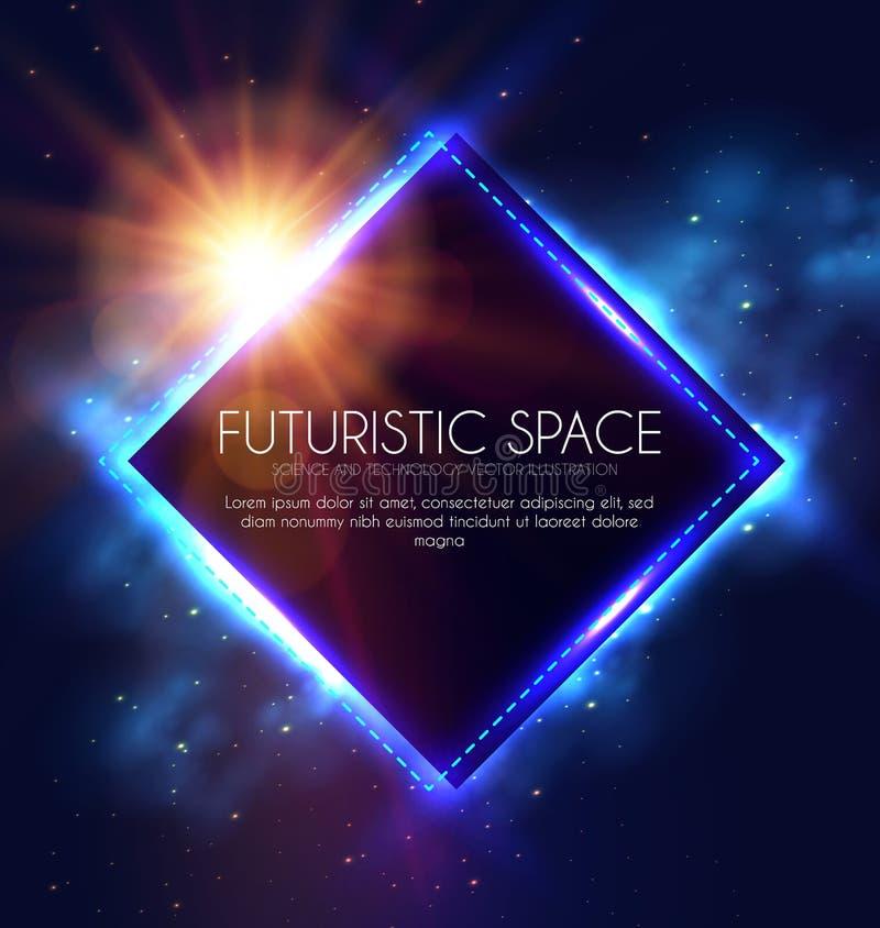Bandera abstracta de Geomrtic con las luces de neón Plantilla de moda del cartel del partido Espacio futurista Diseño de la magia ilustración del vector