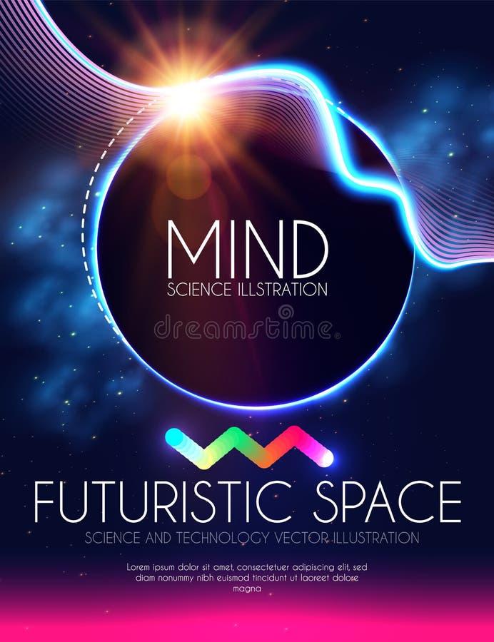 Bandera abstracta de Geomrtic con las luces de neón Plantilla de moda del cartel del partido Espacio futurista Diseño de la magia stock de ilustración