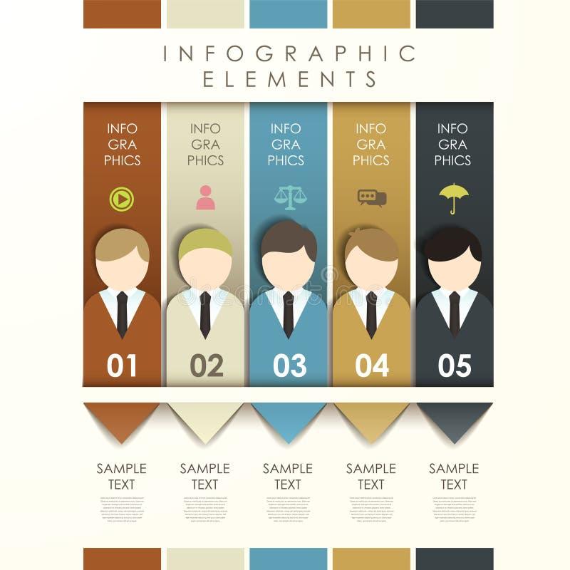 Bandera abstracta de la papiroflexia con infographics del hombre de negocios ilustración del vector