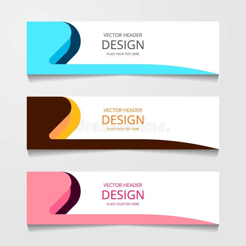 Bandera abstracta del diseño, plantilla del web con tres diverso color, plantillas del jefe de la disposición, ejemplo moderno de imagen de archivo