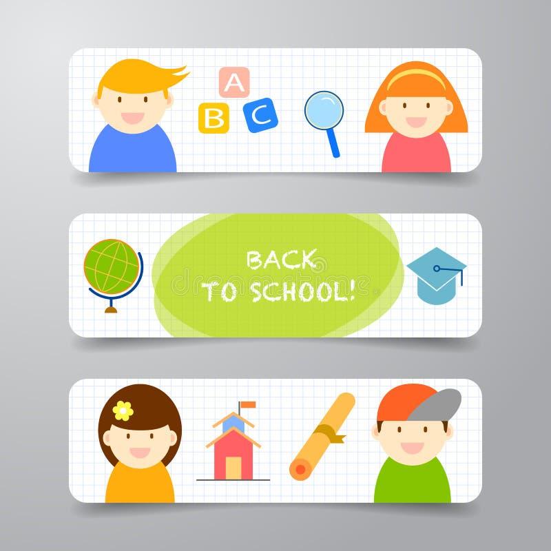 Bandera abstracta del fondo del vector de nuevo a plantilla del diseño de la escuela libre illustration