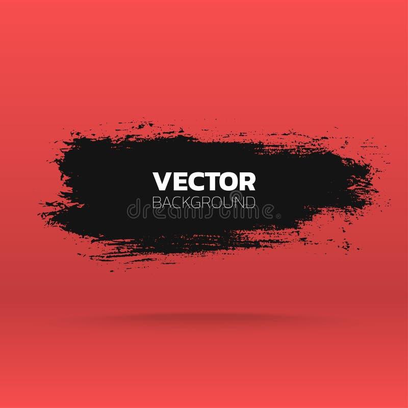 Bandera abstracta del grunge Cepille el fondo negro del movimiento de la tinta de la pintura Modelo del vector stock de ilustración