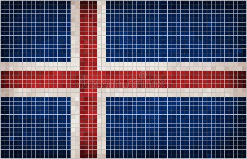 Bandera abstracta del mosaico de Islandia stock de ilustración