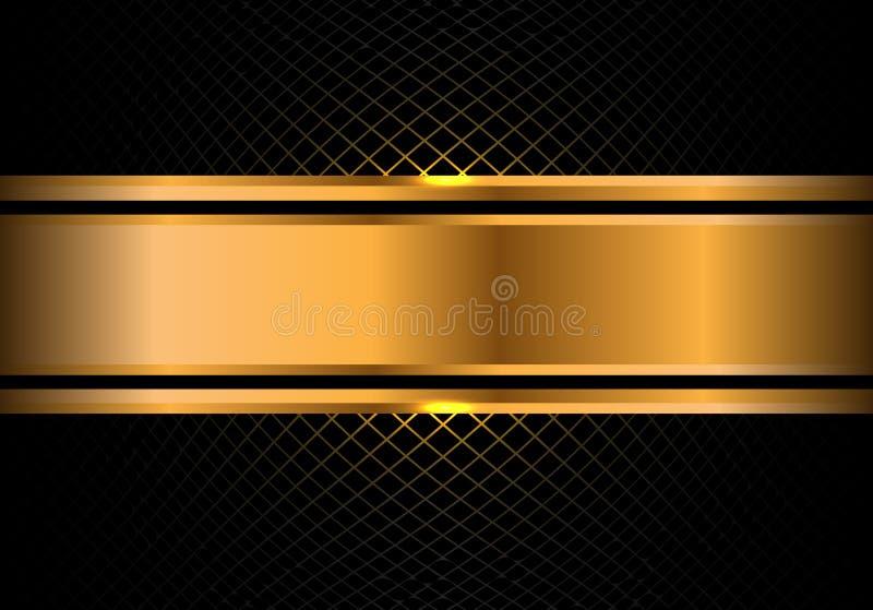 Bandera abstracta del oro en vector de lujo moderno del fondo del diseño de la malla de la casilla negra stock de ilustración