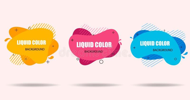 Bandera abstracta moderna de formas líquidas planas Formas líquidas geométricas en estilo plano en fondo aislado Plantilla de mod stock de ilustración