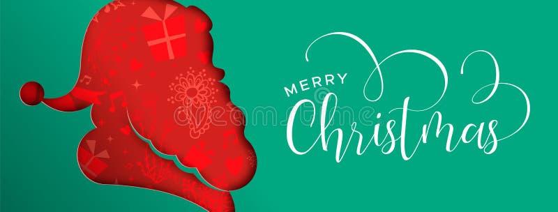 Bandera acodada de la Navidad del corte de papel Papá Noel stock de ilustración