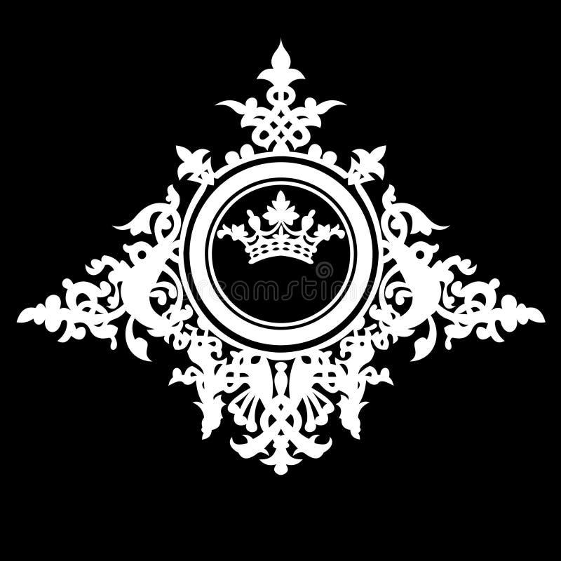 Bandera adornada de la vendimia de la corona. ilustración del vector