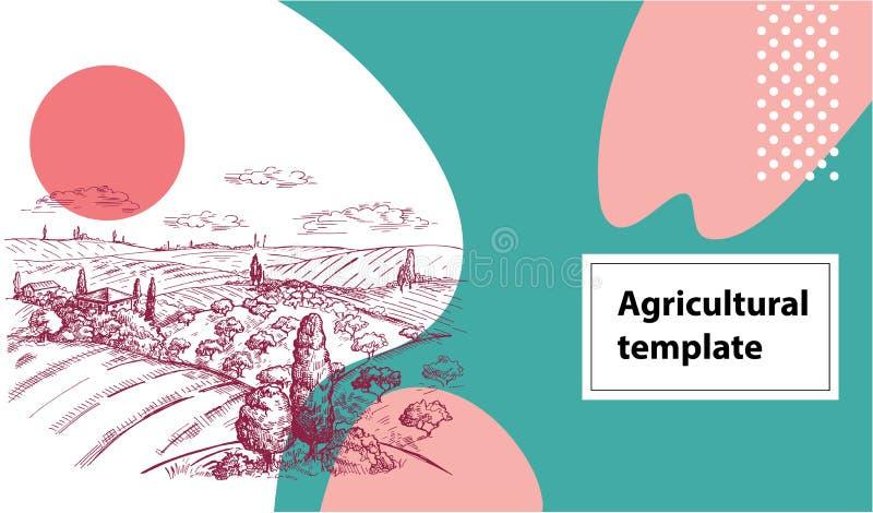 Bandera agrícola horizontal Imagen del vector de un campo, de pajares, de un árbol y de una casa en el estilo toscano geom?trico ilustración del vector