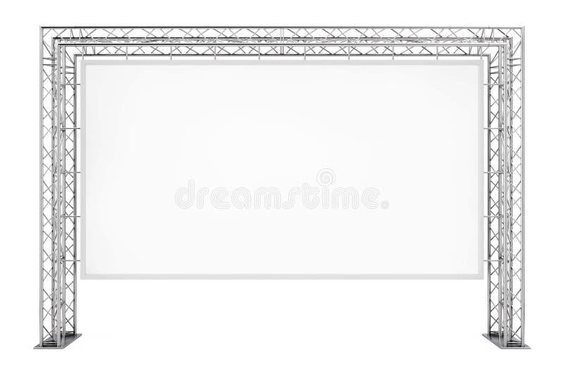 Bandera al aire libre de la publicidad en blanco en el sistema de la construcción del braguero del metal fotos de archivo