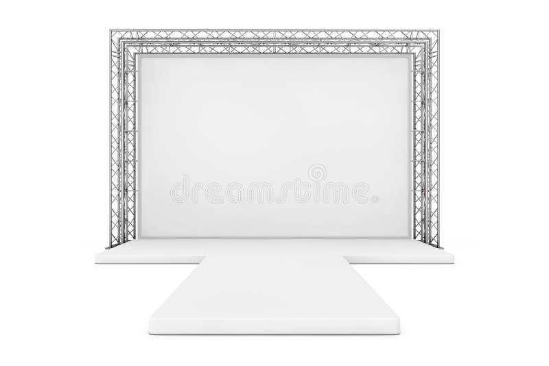 Bandera al aire libre de la publicidad en blanco en el sistema de la construcción del braguero del metal stock de ilustración