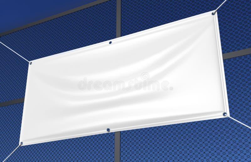 Bandera al aire libre interior blanca en blanco del vinilo de la tela y del lienzo ligero para la presentación del diseño de la i ilustración del vector