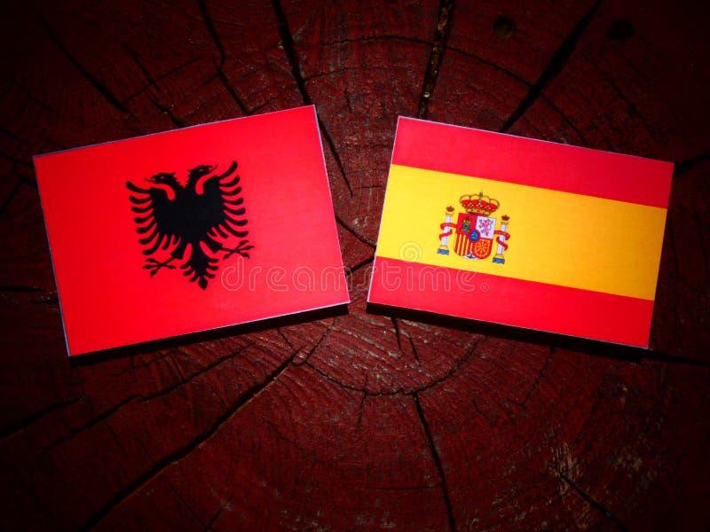 Bandera albanesa con la bandera española en un tocón de árbol imagenes de archivo