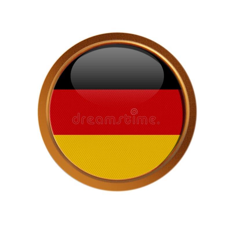 Bandera alemana en el marco de oro stock de ilustración