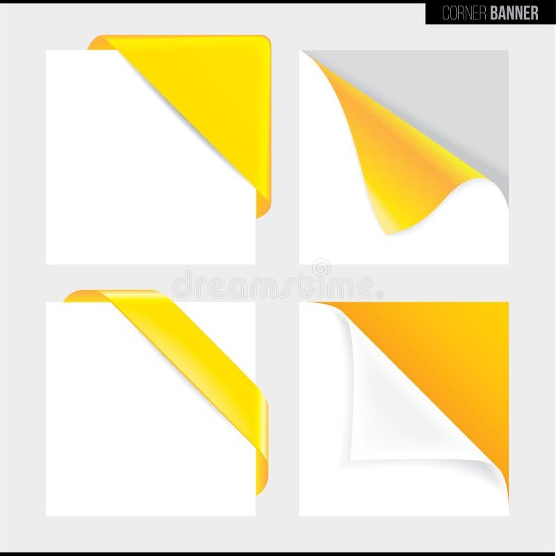 Bandera amarilla de la esquina del color, ejemplo del vector libre illustration