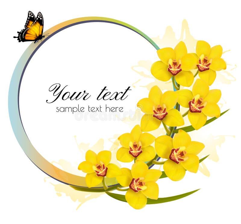 Bandera amarilla de las orquídeas con una mariposa ilustración del vector