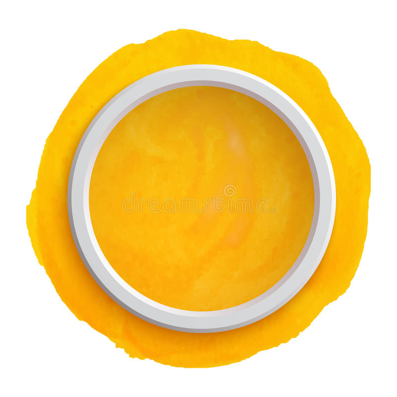 Bandera amarilla redonda de la acuarela ilustración del vector