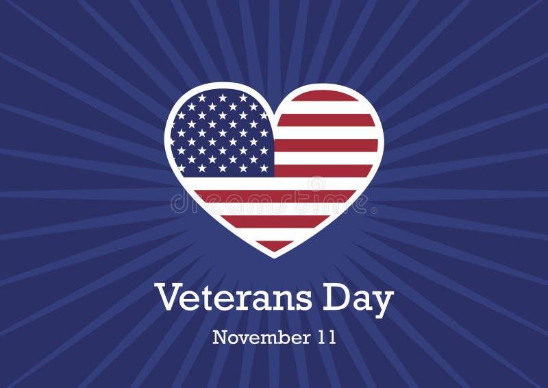 Bandera americana al vector del día de veteranos libre illustration