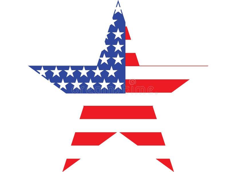 Bandera americana de la estrella grande en el fondo blanco ilustración del vector