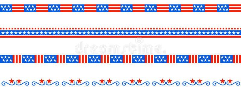 Bandera americana de los E.E.U.U. del divisor patriótico de la frontera stock de ilustración