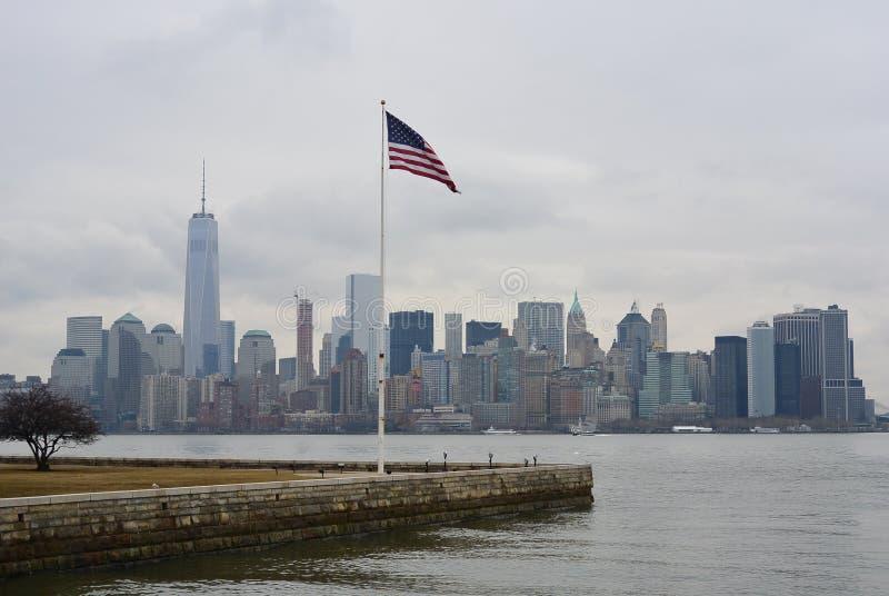 Bandera americana de Nueva York en Staten Island fotos de archivo libres de regalías