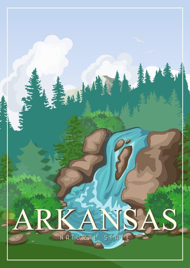 Bandera americana del viaje de Arkansas Cartel con paisajes ilustración del vector