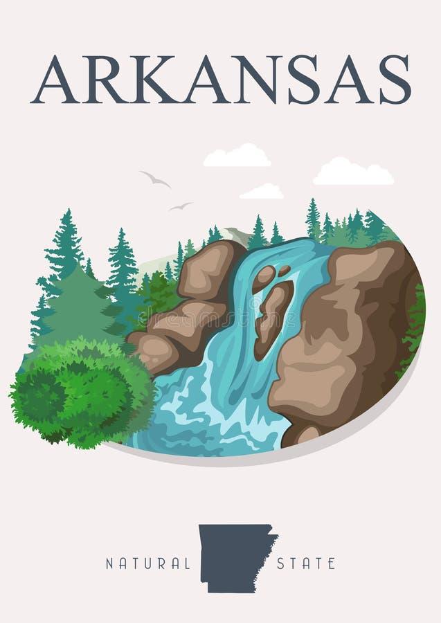 Bandera americana del viaje de Arkansas Cartel en estilo moderno ilustración del vector