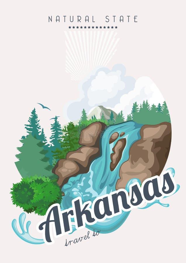 Bandera americana del viaje de Arkansas Tarjeta del estado natural ilustración del vector
