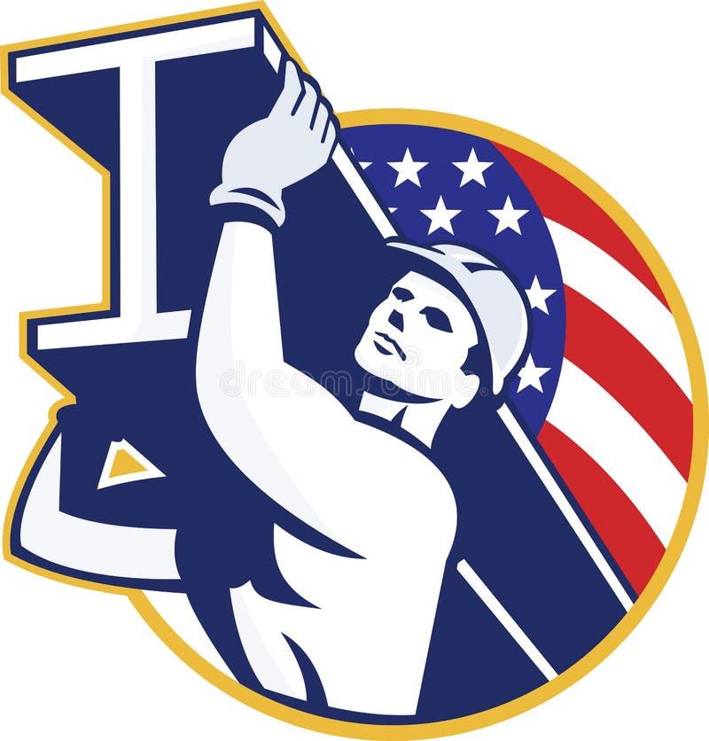 Bandera americana del Yo-haz del trabajador de acero de la construcción stock de ilustración
