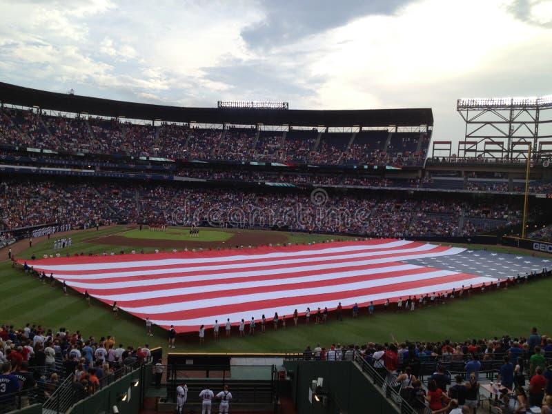 Bandera americana en el partido fotografía de archivo libre de regalías