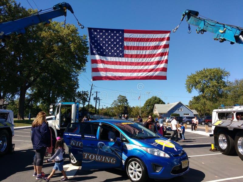 Bandera americana en el tacto un evento del camión, Rutherford, NJ, los E.E.U.U. imagen de archivo libre de regalías