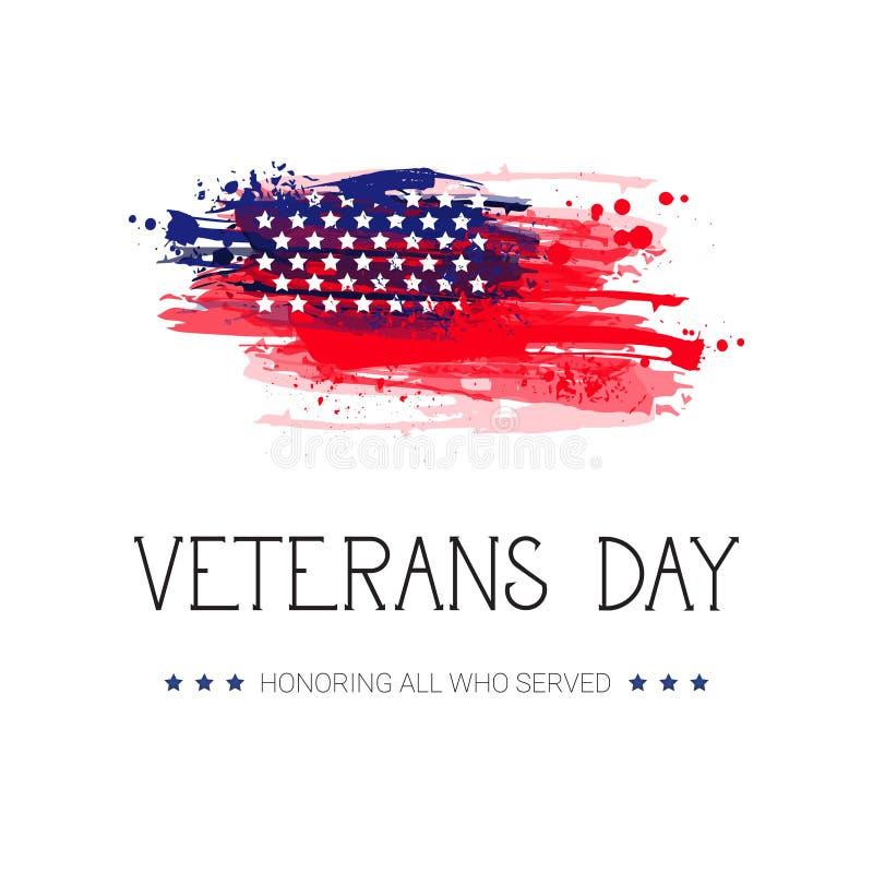 Bandera americana nacional del día de fiesta de la celebración del día de veteranos sobre fondo de la bandera de los E.E.U.U. stock de ilustración