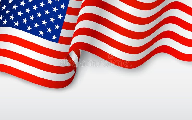 Bandera americana ondulada ilustración del vector