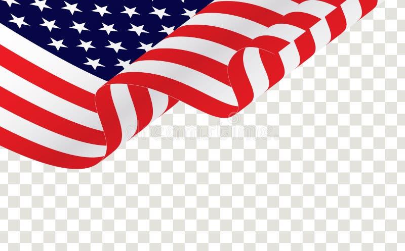 Bandera americana que agita aislada en transparente stock de ilustración